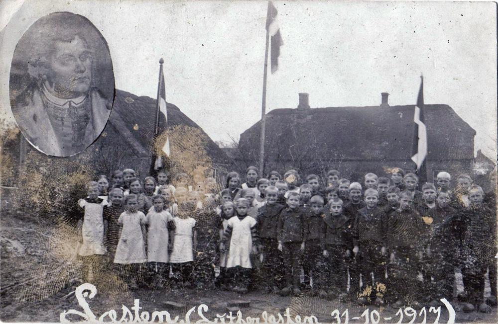 31. oktober 1917 - postkort fra lærer Munch-Steensgaard til pastor Jensen i Bjerregrav.