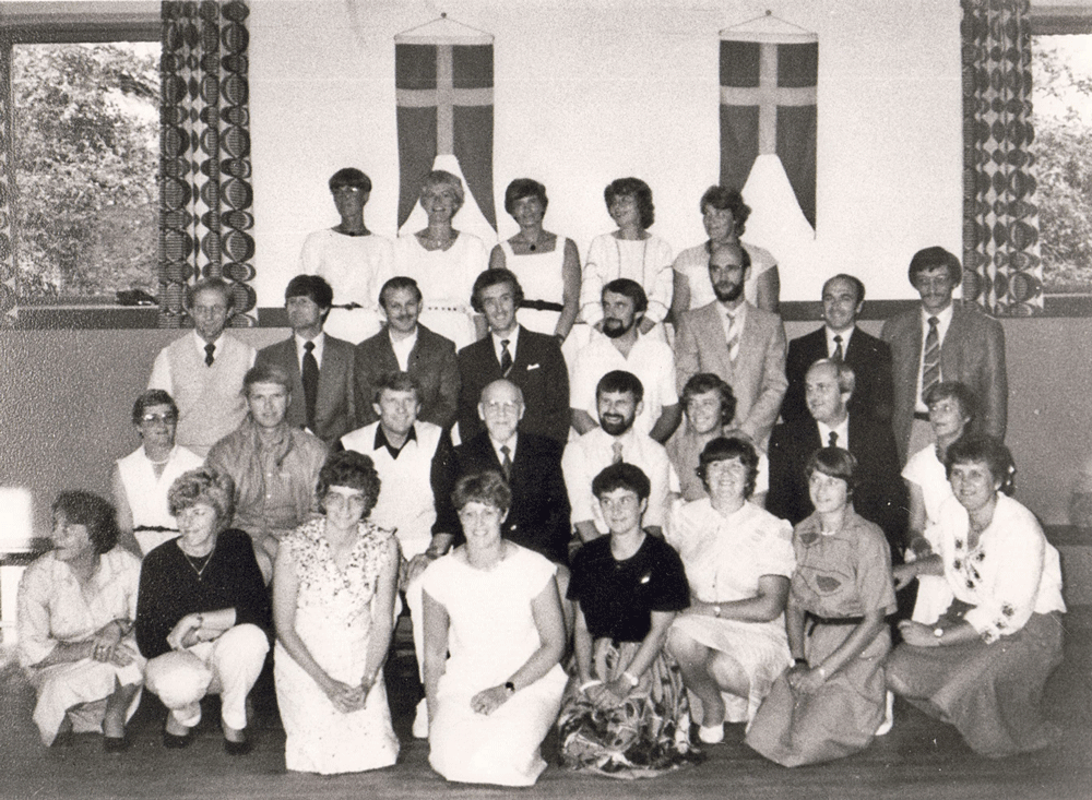 1984 - Klassegensyn i Læsten Forsamlingshus - klik på billedet for navne