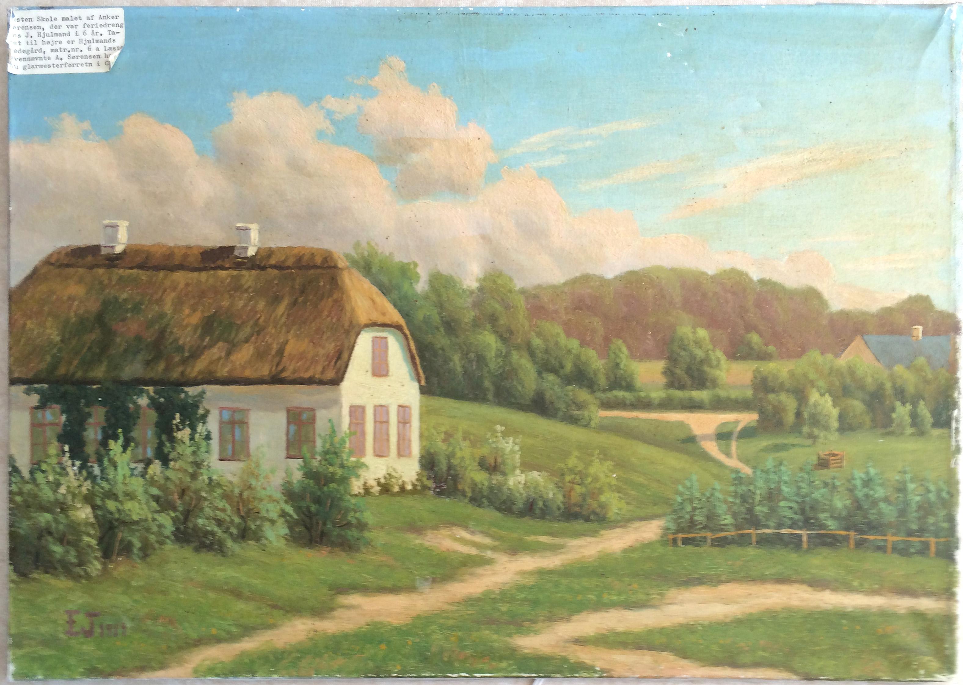 Maleri af Læsten Skole - ukendt kunstner og årstal