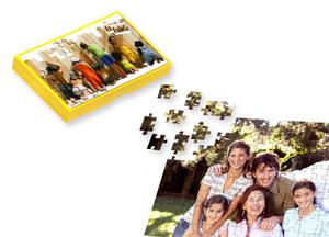 Puslespil med 112 eller 266 brikker i gaveæske - og med dit foto