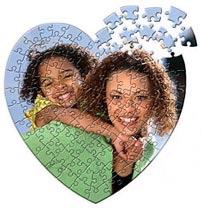Hjerteformet fotopuslespil med dit eget foto - 118 brikker